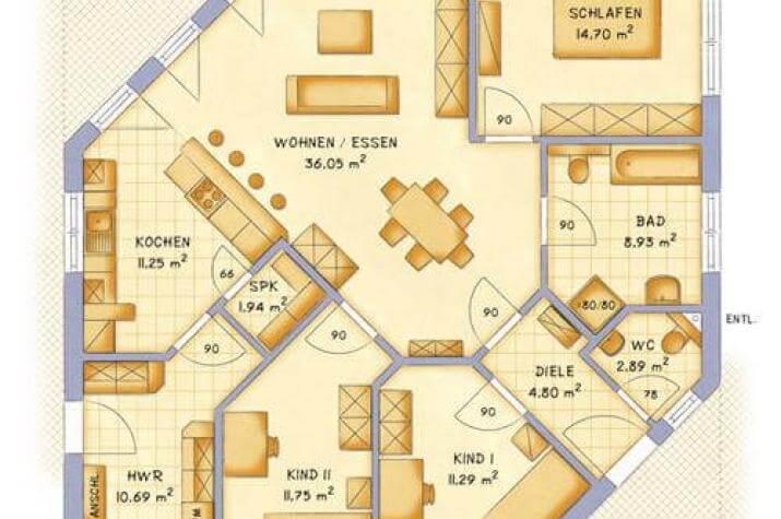... individuell geplant ! - Bungalow mit außergewöhnlicher Formgebung über Eck - www.jk-traumhaus.de - grundriss eg