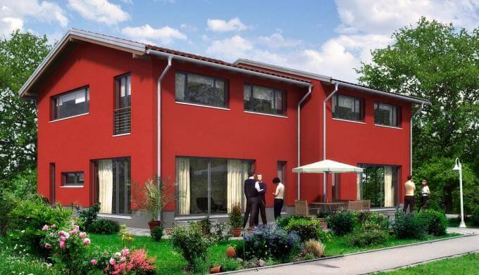 individuell geplant doppelhaus in moderner. Black Bedroom Furniture Sets. Home Design Ideas