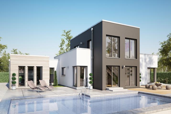 AMBIENCE 100 V5 - Außergewöhnlicher Bungalow mit zweigeschossigem Querhaus und Dachterrasse