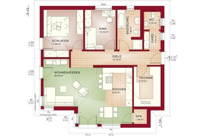 AMBIENCE 88 V2 - Grundriss Erdgeschoss