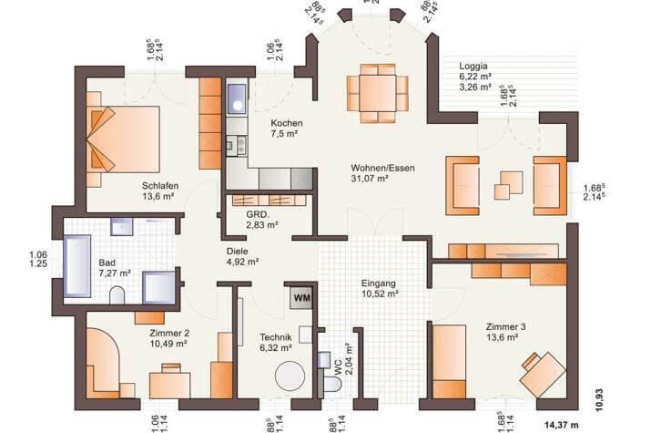Bärenhaus Bungalow One 116 - One 116 Erdgeschoss
