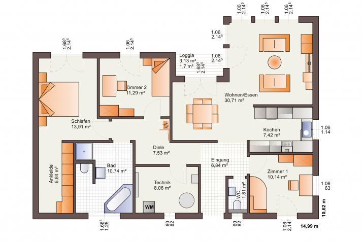 Bärenhaus Bungalow One 118 - One 118 Erdgeschoss