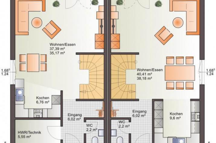 Bärenhaus Doppelhaus Duo 110 - Duo 110 Erdgeschoss