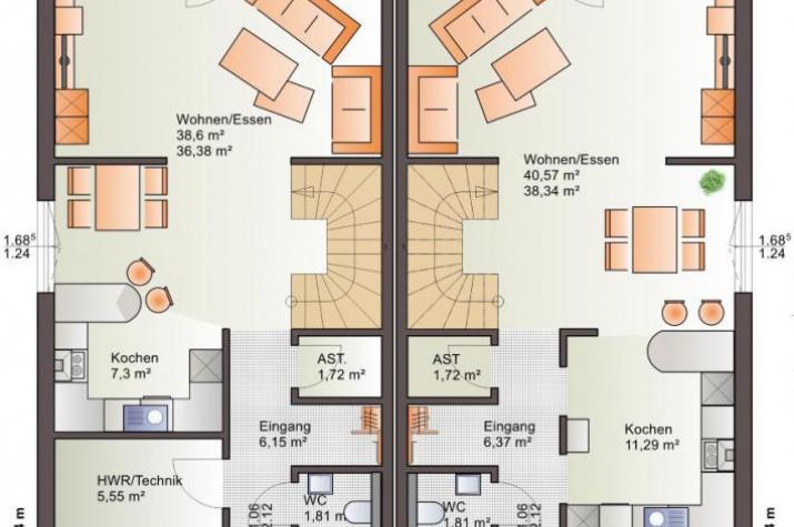 Bärenhaus Doppelhaus Duo 117 - Duo 117 Erdgeschoss