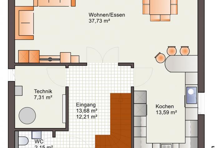 Bärenhaus Stadtvilla Eos 142 - Eos 142 Erdgeschoss