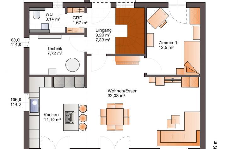 Bärenhaus Stadtvilla Eos 154 - Eos 154 Erdgeschoss