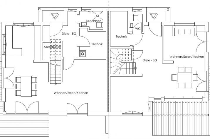 Breitbrunn - Bauen im Doppelpack - Grundriss Erdgeschoss