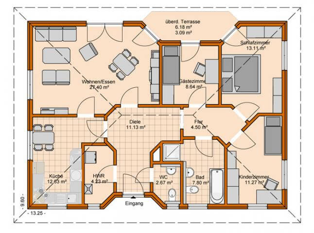 Bungalow Aufteilung | living floor plan | Pinterest | Bungalows