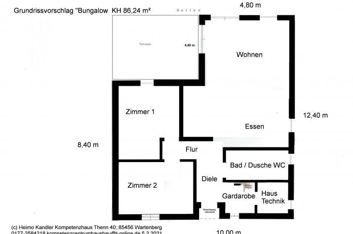 Bungalow als Winkelhaus - Klein aber fein - ca. 86,5 m² Wohnfläche nach DIN 277  - Grundrissvorschlag
