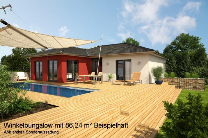 Bungalow als Winkelhaus - Klein aber fein - ca. 86,5 m² Wohnfläche nach DIN 277  - Winkelbungalow Gartenansicht (Beispiel)
