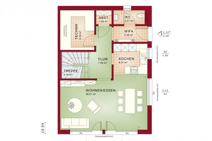 CELEBRATION 122 V6 L - Grundriss Erdgeschoss