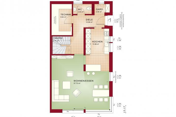 CELEBRATION 139 V4 L - Grundriss Erdgeschoss
