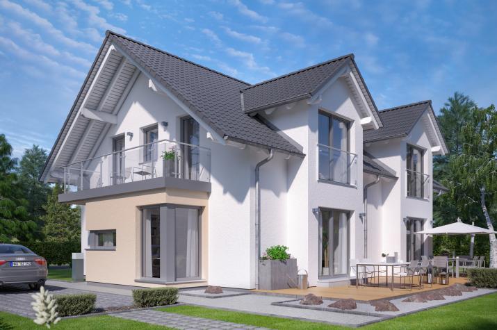 CELEBRATION 192 V2 - Zweifamilienhaus mit zwei Querhäusern und Erker mit Balkon