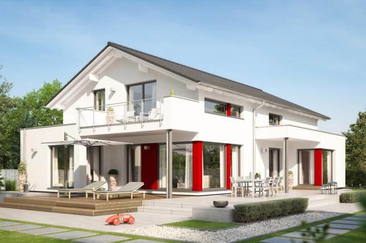 CELEBRATION 211 V4 - Modernes Zweifamilienhaus mit Übereck-Erkern und Terrassenüberdachung