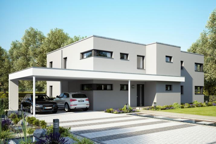CELEBRATION 282 V3 - Zweifamilienhaus im Bauhaus-Stil mit Design-Doppelcarport