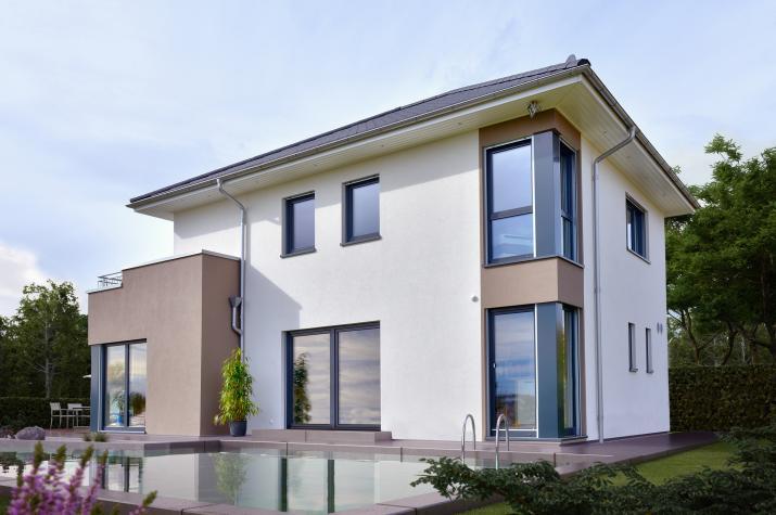 CONCEPT-M 145 Zweibrücken - Moderne Design-Stadtvilla mit Übereck-Erker mit Balkon