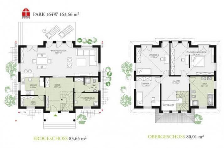 DAN-WOOD House Park 164W - Grundriss des Musterhauses