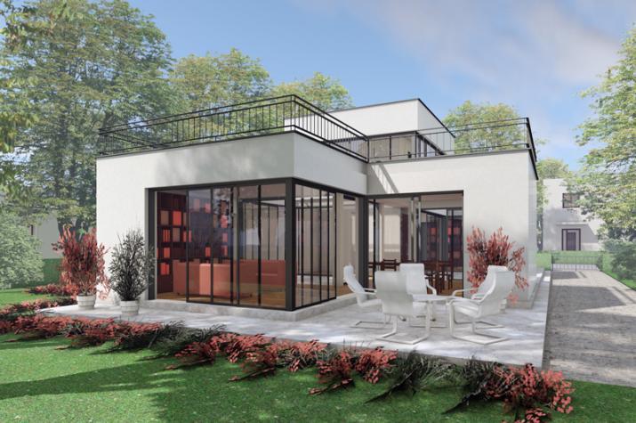 Das Patiohaus PAT07-H07 - Gartenansicht und Terrasse