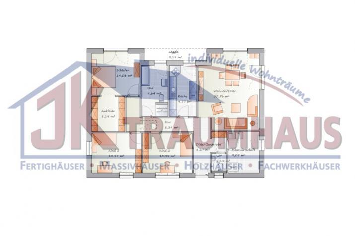 Der Winkelbungalow für die ganze Familie - www.jk-traumhaus.de - Grundriss EG