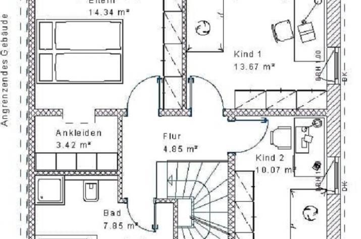 Doppelhaus Klassik 30.40 - Skizze Obergeschoss