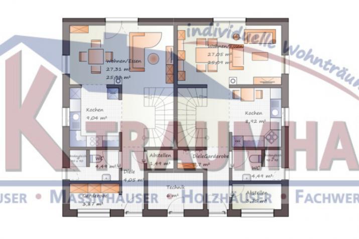 Doppelhausähnliches Zweifamilienhaus - www.jk-traumhaus.de - Grundriss EG