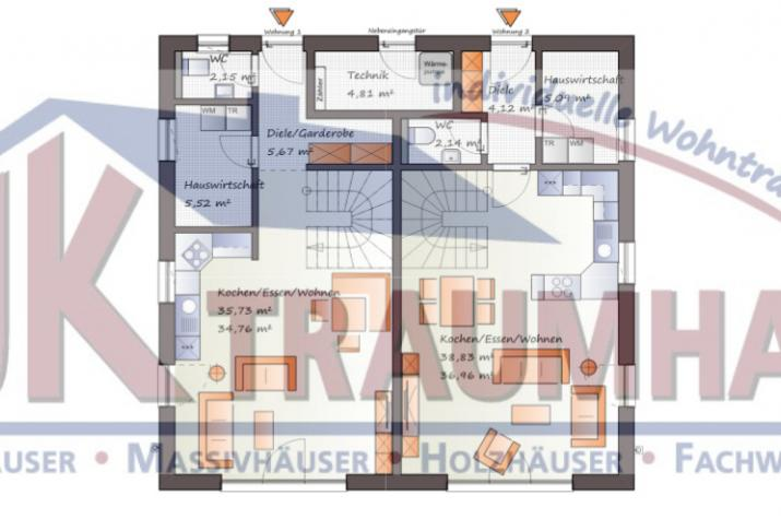 Doppelhausähnliches Zweifamilienhaus-www.jk-traumhaus.de - Grundriss EG