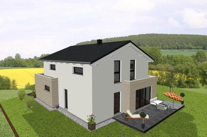 Einfamilienhaus kombiniert mit Flachdachanbauten - www.jk-traumhaus.de -