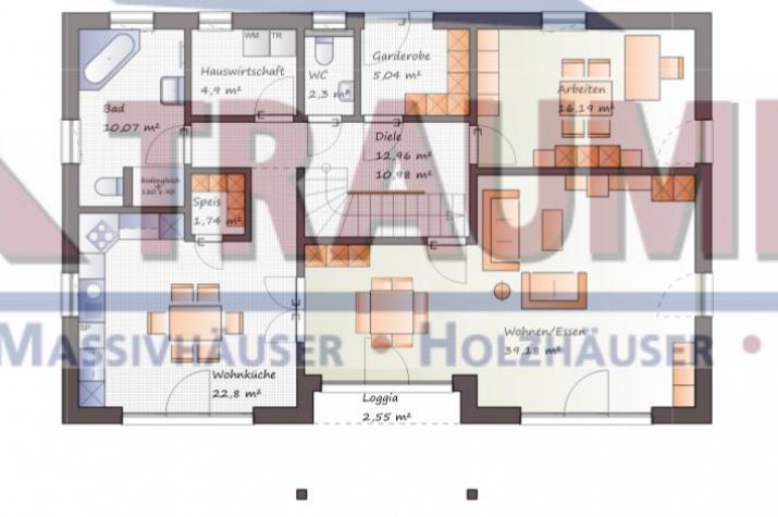 Exklusives Einfamilienhaus mit imposanter Dachgestaltung - www.jk-traumhaus.de - Grundriss EG