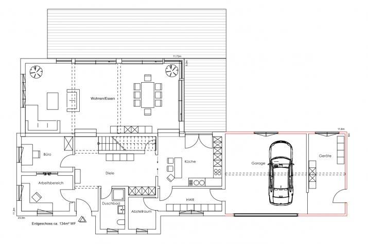 Fabienne - Designerstück: Wohnkunst im Holzhaus - Erdgeschoss