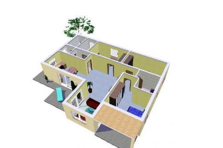 Friedersdorf - Bungalow - 3D Grundriss EG