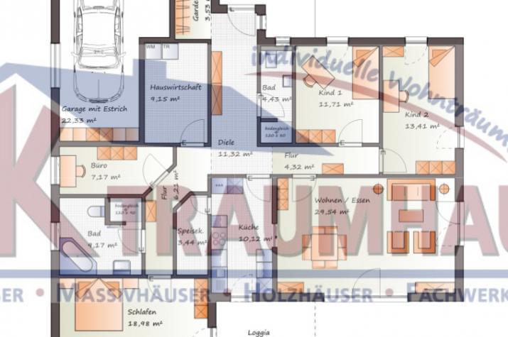 Großzügiger Winkelbungalow mit integrierter Garage - www.jk-traumhaus.de - Grundriss EG