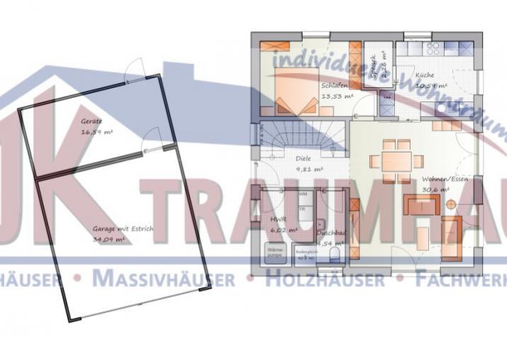 Klassisches Einfamilienhaus mit Satteldachgaube -  www.jk-traumhaus.de - Grundriss EG