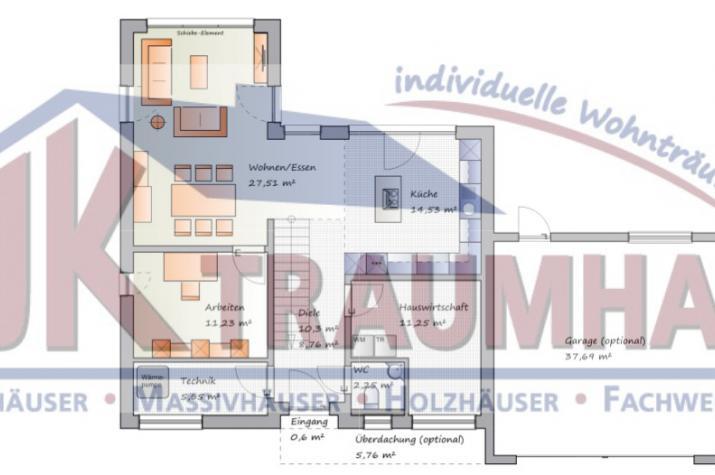 Kompaktes Bauhaus mit Dachterrasse - www.jk-traumhaus.de - Grundriss EG