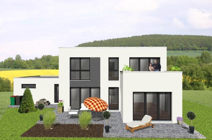 Kompaktes Bauhaus mit Dachterrasse - www.jk-traumhaus.de -