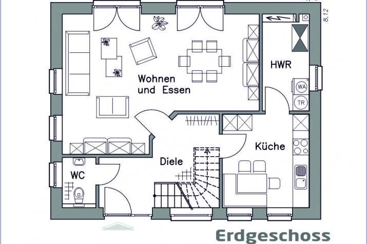 Massiv-Hausidee EH 125 Basis - Erdgeschoss
