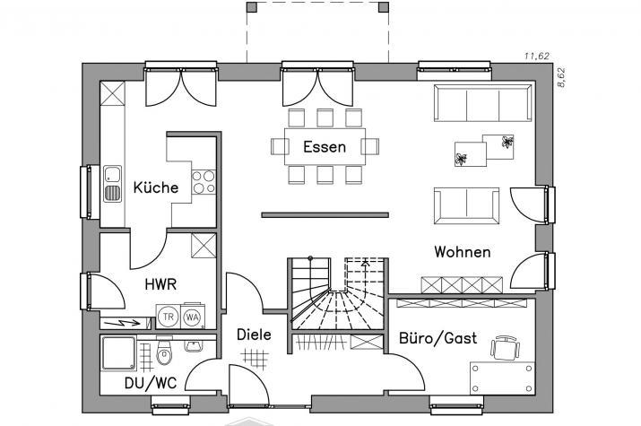 Massiv-Hausidee EH 155 K - Grundriss EH 155 K