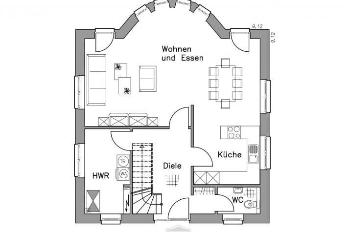 Massiv-Hausidee SV 125 M - EG-Grundriss SV 125 M
