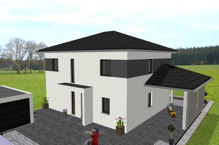 Moderne Stadtvilla mit Nebendachflächen - www.jk-traumhaus.de -