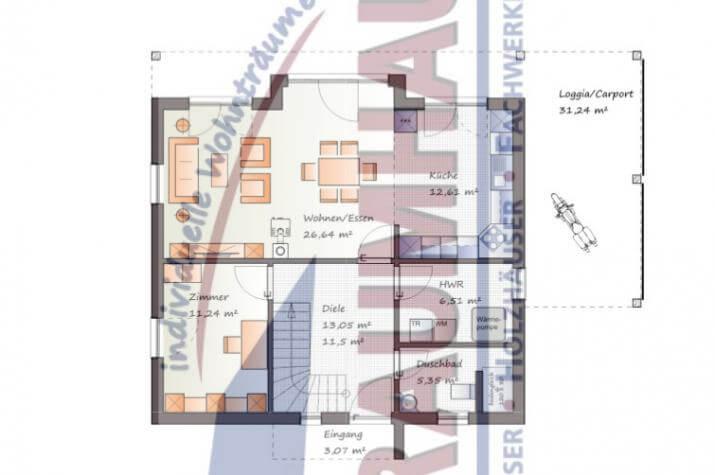 Moderne Stadtvilla mit Nebendachflächen - www.jk-traumhaus.de - Grundriss EG