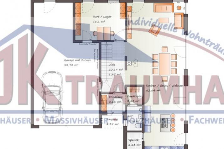 Moderne Stadtvilla mit integrierter Garage - www.jk-traumhaus.de - Grundriss EG