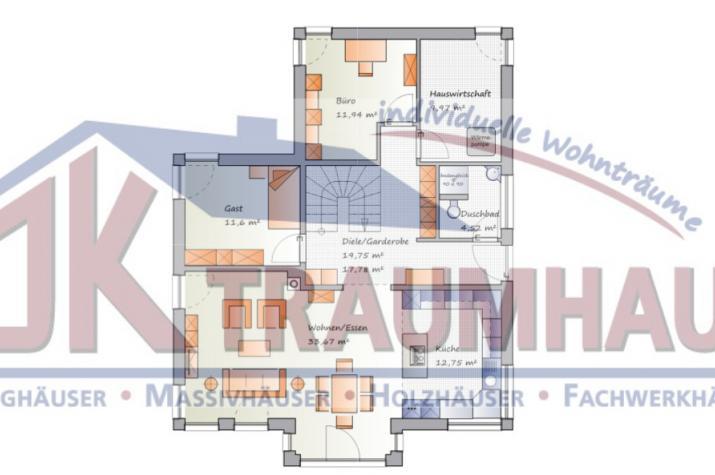 Modernes Einfamilienhaus mit Flachdachanbau - www.jk-traumhaus.de - Grundriss EG