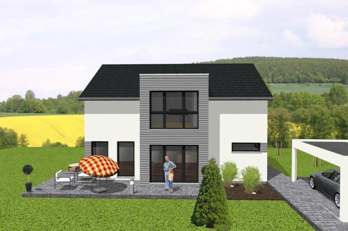 Modernes Einfamilienhaus mit Flachdachanbau - www.jk-traumhaus.de -