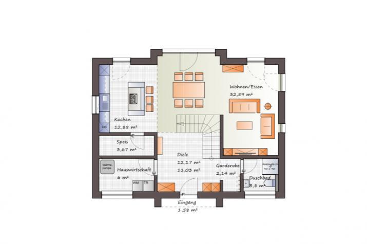 Modernes Einfamilienhaus mit interessanter Architektur-www.jk-traumhaus.de - Grundriss EG