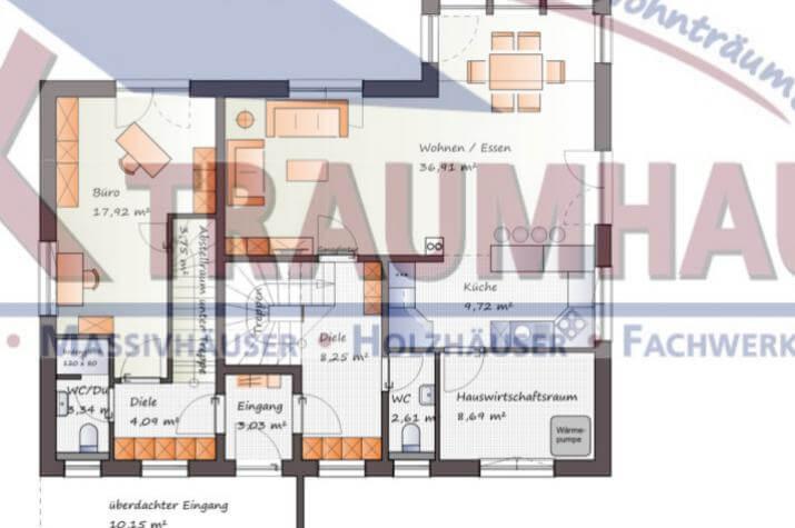 Modernes Zweifamilienhaus mit Bürotrakt - www.jk-traumhaus.de - Grundriss EG