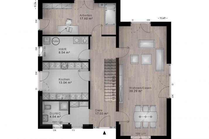 PULTDACH HAUS BIRNBACH 30-007 - Grundriss Erdgeschoss