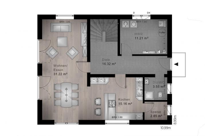 SATTELDACH HAUS MERKELBACH 70-011 - Grundriss Erdgeschoss