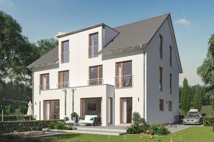 SOLUTION 124 XL V4 - Modernes XL-Doppelhaus, optimiert für kompakte Stadt-Grundstücke