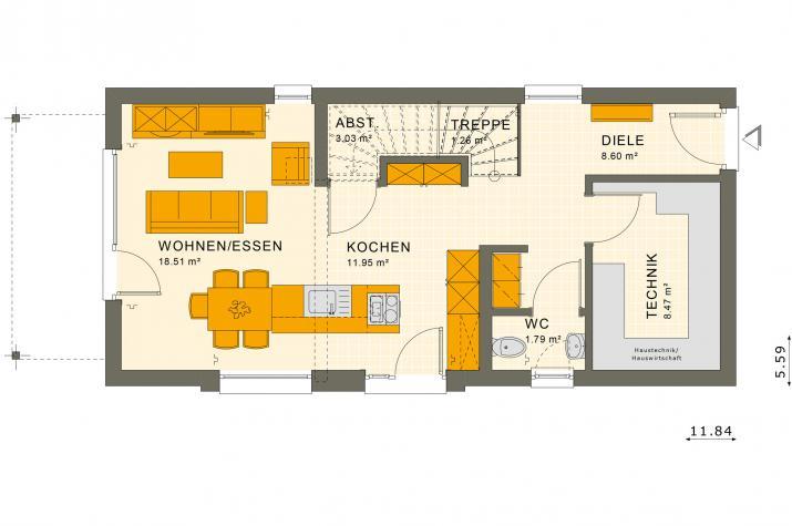 SUNSHINE 107 SD - Grundriss Erdgeschoss