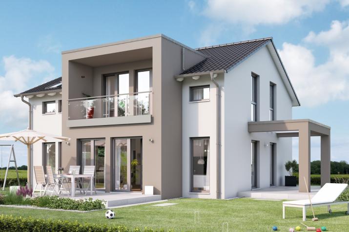 SUNSHINE 165 V5 - Einfamilienhaus mit XL-Querhaus, Loggia und Terrassen-Pergola