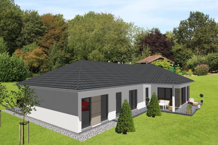 Schicker Winkelbungalow mit integrierter Garage -  www.jk-traumhaus.de -